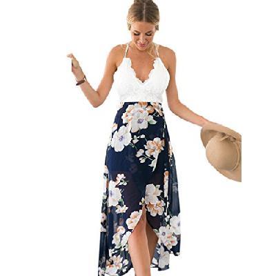 63c8edf28736c Blooming Jelly Femme Robe Floral Halter Neck V Profond asymétrique avec  Dentelle