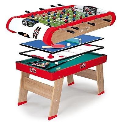 Smoby - 640001 - BabyFoot - Powerplay 4 en 1 - BabyFoot - Ping -Pong - Hockey et Billard - Structure
