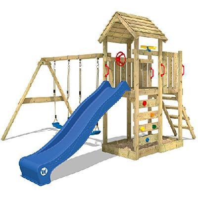 b4bdf5bb517b22 WICKEY Aire de jeux MultiFlyer Portique de jeux avec toit en bois Tour  d escalade