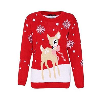Women's Bambi Rudolph Kids Xmas Mother Daughter Son Christmas Jumper Top Size 8-26
