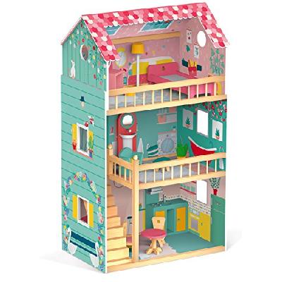 woodienchen Janod Wooden Toy Doll House Wooden Dolls House Furniture, 60.8 x 37,9 Maxi Happy Day X 1