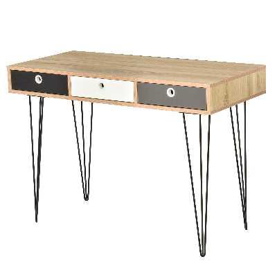 Table console design scandinave 3 tiroirs tricolores