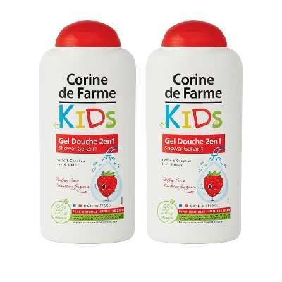 Lot de 2 Gel Douche Kids 2en1 Corps & Cheveux parfum Fraise