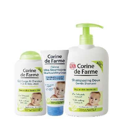 Shampooing doux, Gel lavant visage et corps et Crème ultra nourrissante
