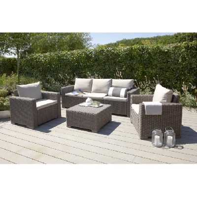 Salon de jardin aspect rotin ALLIBERT 5 personnes CALIFORNIA