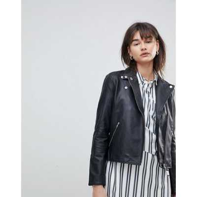 Selected Femme - Veste en cuir-Noir
