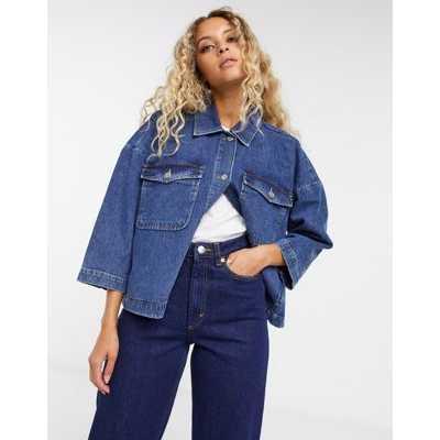 Selected Femme - Veste en jean à délavage foncé-Bleu