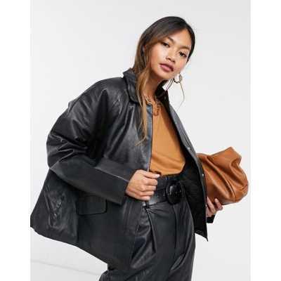 Selected Femme - Veste en cuir avec doublure matelassée - Noir