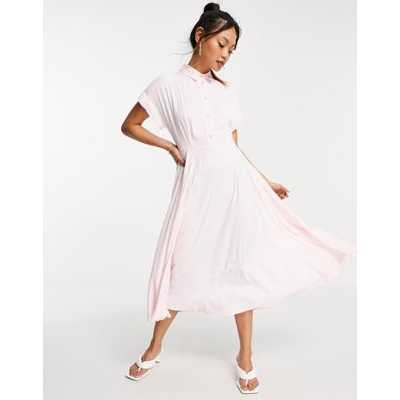 Closet London - Robe chemise mi-longue à manches courtes plissées avec boutons en cristal - Robe