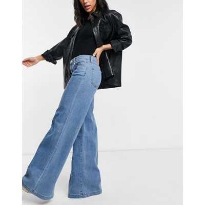 Jean J Brand Evytte - Jean large taille mi-haute style années 70 - Bleu délavé moyen-Blanc