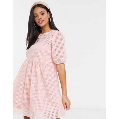New Look - Robe babydoll avec fond de robe - Vichy rose