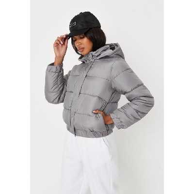 Veste doudoune grise à capuche