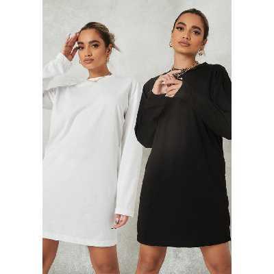 Lot de 2-Robes T-Shirt Basiques Noire et Blanche