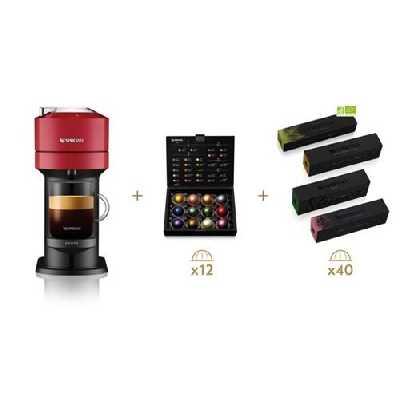 Cafetière à dosette Krups YY4800FD Vertuo Next 1500 W Rouge avec 52 capsules Nespresso offertes