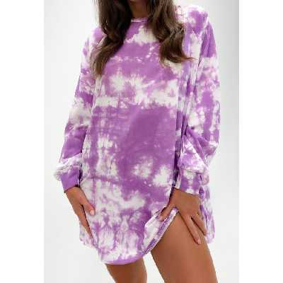 Robe sweat lilas tie and dye oversize