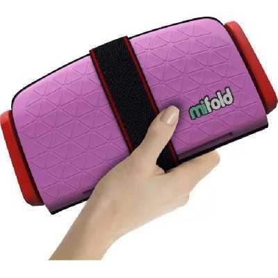 MIFOLD Siège auto Réhausseur enfant 10x plus compact qu'un siège auto traditionnel - rose