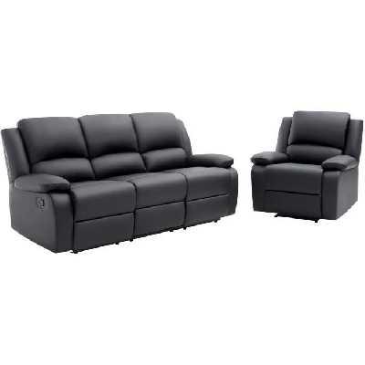 RELAX Ensemble de canapé relax 3 places + fauteuil - Simili noir
