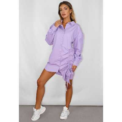 Robe chemise lilas froncé