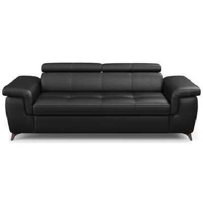 Canapé droit fixe 3 places NALA coloris noir