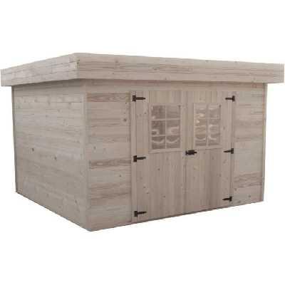 Abri de jardin bois toit plat avec bac acier - 8.4 m² Bois