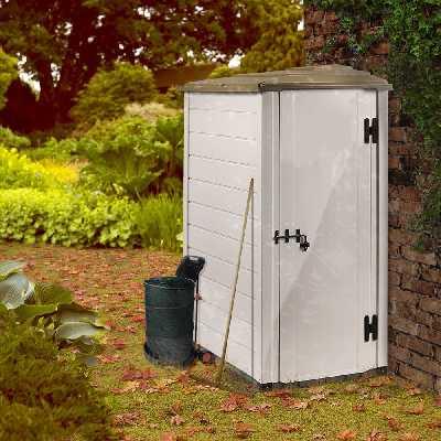 Petit abri de jardin résine PVC adossable 1,16 m² Ep. 22 mm Evo 100.1