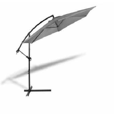 Parasol Déporté - Inclinable sur Pied - diam 300 cm -Socle Base Option Parasol avec housse - Gris