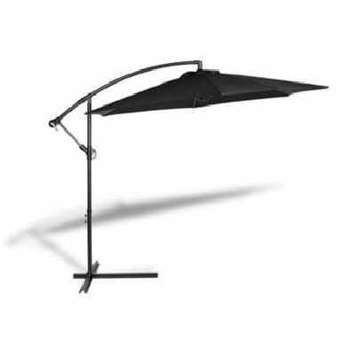 Parasol Déporté - Inclinable sur Pied - diam 300 cm -Socle Base Option Parasol avec housse - Noir