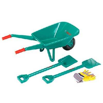 Klein 2752 Set de jardinage Bosch avec brouette | Avec pelle, râteau et gants de travail | Dimensions: 70,5 cm x 34 cm x 33 cm | Jouet pour enfants à partir de 3 ans