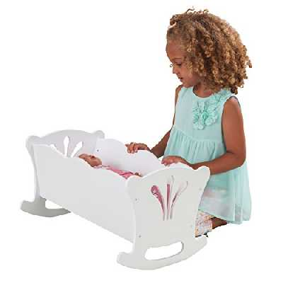 KidKraft- Lil' Doll Cradle Berceau Bois Parure de Lit Rose Accessoire pour Poupées, 60101, Blanc, 45cm