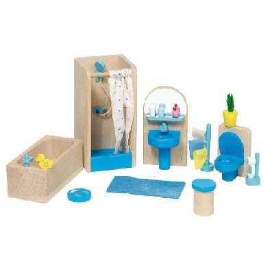 Goki - 51903 - Mobilier de salle de bain pour maison de poupées - 17 pièces