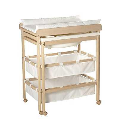 roba Combinaison baignoire-table à langer en bois naturel, table à langer avec baignoire coulissante et avec matelas à langer en blanc, HxLxP: 100x56x83cm.