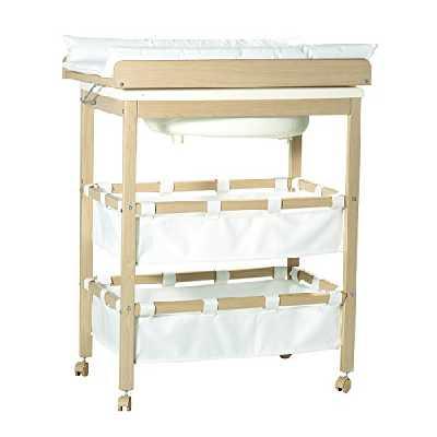 roba Combinaison baignoire-table à langer en bois naturel, table à langer pliable avec baignoire et avec matelas à langer blanc, HxLxP: 99x78x46,5cm.