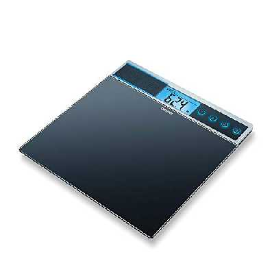 Pèse-personne en verre Beurer GS 39 avec fonction vocale, plateau de pesée extra large, quatre emplacements de mémoire