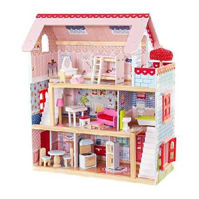 KidKraft Maison de Poupées en Bois Chelsea Incluant Accessoires et Mobilier 3 Étages de Jeu, 65054, 30 cm