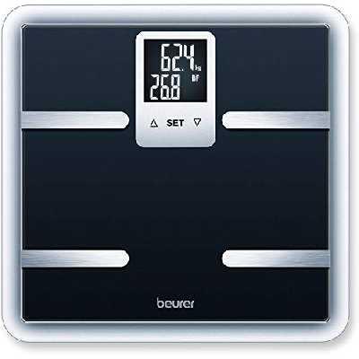 Beurer BG 40 Pèse-personne, impédancemètre en verre de sécurité, moniteur numérique de composition corporelle, mesure de la graisse corporelle et affichage des calories