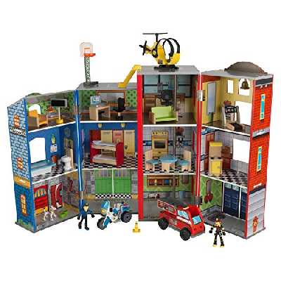 KidKraft 63239 Jouet enfant en bois Everyday Heroes, incluant camion de pompiers, voiture de police, hélicoptère et figurines