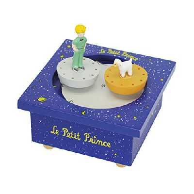 TROUSSELIER - Le Petit Prince Saint Exupéry - Boîte à Musique Dancing - 2 Figurines Amovibles - Fonctionnement Simple - Musique Petite Musique de Nuit de Mozart - Colori Bleu Roi