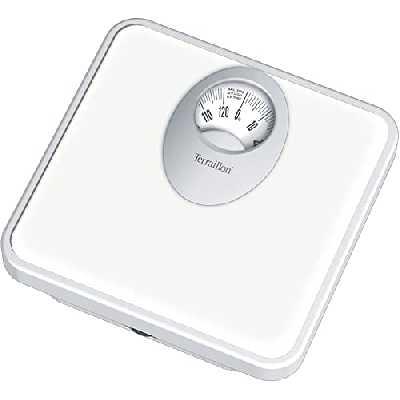 Terraillon Pèse Personne Mécanique, Grand Cadran Rotatif, 120kg, T61 - Blanc - 25,5 x 25 x 5 cm