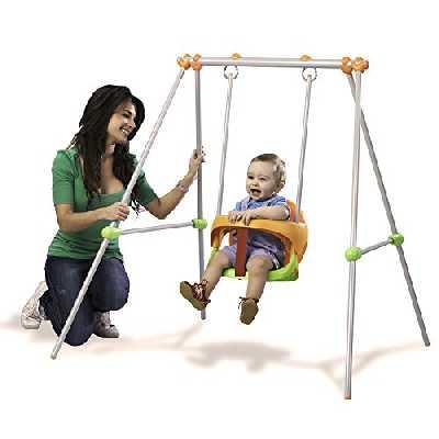 Smoby - Portique Métal Baby Swing - Balançoire Enfant - Dès 6 Mois - Hauteur 120cm - Siège avec Arceau de Sécurité - 310046