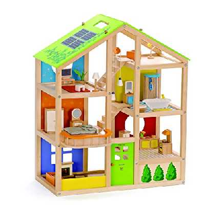Hape - E3401 - Jeu d'Imitation en Bois - Maison de Poupées - Maison toute Saison (meublée)