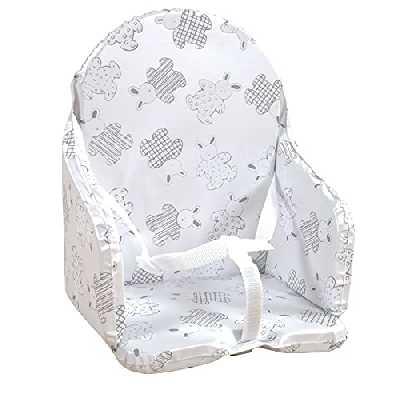 Looping - Coussin de Chaise Haute PVC Imperméable Avec Sangles - Fabriqué France (Lapin Pyjama)