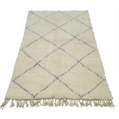 Tapis marocain tissé à la main d'origine Beni Ouarain motif blanc et carrés noir - L230cm x P155cm x H4cm