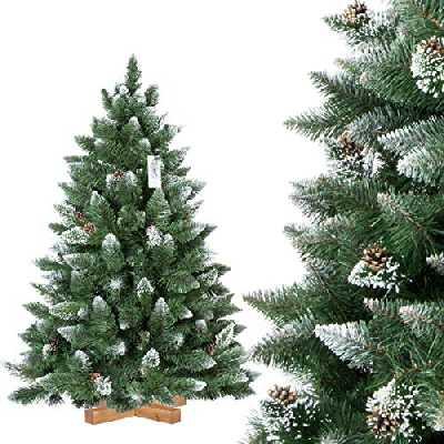 FairyTrees Sapin de Noël Artificiel, Pin Naturel Enneigé avec Pommes de pin naturels, Matériel PVC, Socle en Bois, 120cm, FT04-120