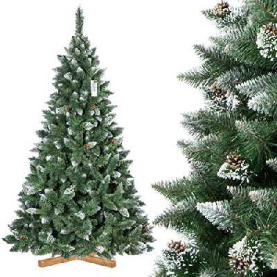 FAIRYTREES Sapin de Noël Artificiel, Pin Naturel Enneigé avec Pommes de pin naturels, Matériel PVC, Socle en Bois, 220cm, FT04-220