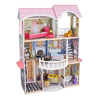 KidKraft-65907 KidKraft 65907 Maison Bois Magnolia incluant Accessoires et mobilier, 3 étages de Jeu pour poupées 30 cm, Multicolore