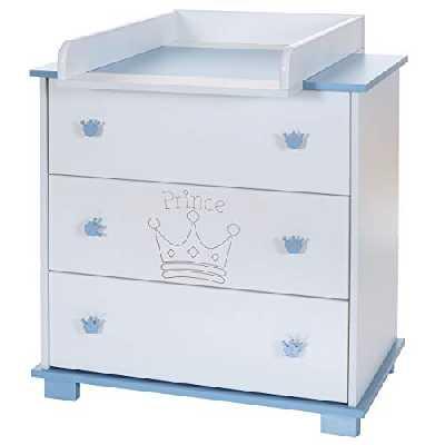 Commode Bebe avec Table à Langer Amoviable, 3 Tiroirs, Bleu Blanc