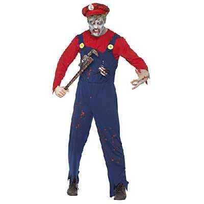 Smiffys Costume plombier zombie, Rouge, avec haut, salopette avec cage thoracique latex