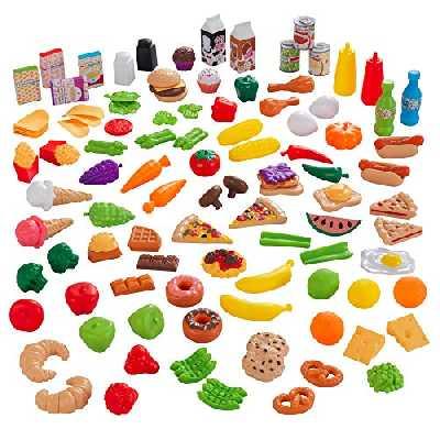 KidKraft- Ensemble Fruits, Légumes et Accessoires en Plastique Tasty Treats Deluxe Dînette Enfant, Jeu d'Imitation, 63330, Multicolore, 115 Pièces