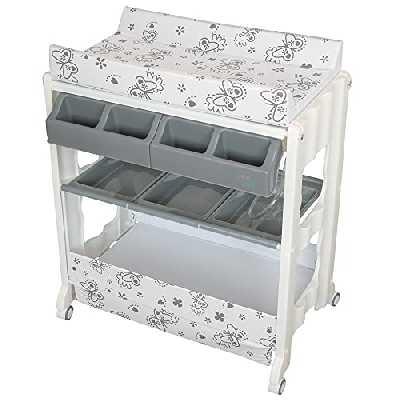 IB-Style - Table à langer avec baignoireà roullettes - 11 décors différents - Matelas Commode Bébé Meuble| Modèle