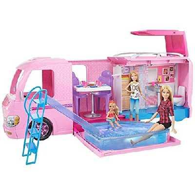 Barbie Mobilier Camping-Car Duplex pour poupées, véhicule rose à deux étages avec quatre couchages, piscine et toboggan, jouet pour enfant, CJT42